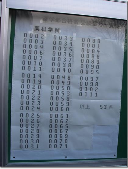 2013年京都大学薬学部薬学科合格発表