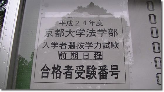平成24年度京都大学法学部入学者選抜学力試験前期日程合格者受験番号